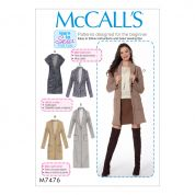 McCalls Ladies Easy Learn to Sew Sewing Pattern 7476 Drop Shoulder Waistcoat & Cardigans