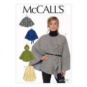 McCalls Ladies Easy Sewing Pattern 7477 Hooded, Collared & Collarless Capes