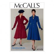McCalls Ladies Sewing Pattern 7478 1950s Vintage Style Fit & Flare Shawl Collar Coats