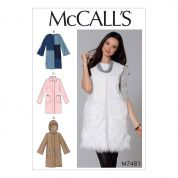 McCalls Ladies Easy Sewing Pattern 7481 Hooded, Collared & Collarless Coats & Waistcoat