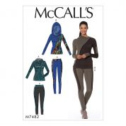 McCalls Ladies Sewing Pattern 7482 Asymmetrical Zip Jacket & Seamed Leggings