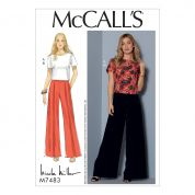 McCalls Ladies Sewing Pattern 7483 Short Sleeve Top & Pleated Wide Leg Pants