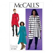 McCalls Ladies Easy Plus Size Sewing Pattern 7485 Seamed Shaped Hem Coats