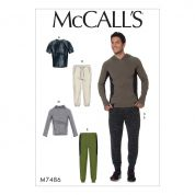 McCalls Mens Easy Sewing Pattern 7486 Raglan Sleeve Tops & Drawstring Pants