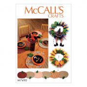 McCalls Homeware Easy Sewing Pattern 7490 Placemats, Table Runner, Witch Hat & Legs & Wreaths