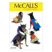McCalls Pets Easy Sewing Pattern 7495 Pumpkin, Hero, Vampire & Dress Pet Costumes