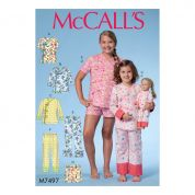 McCalls Girls & Dolls Easy Sewing Pattern 7497 Matching Tops, Shorts & Pants