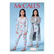 McCalls Girls Easy Sewing Pattern 7499 Dressing Gown with Hood, Henley Top & Pants