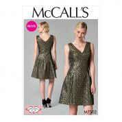 McCalls Ladies Petite Sizes Sewing Pattern 7502 Drop Waist V Neck Dress