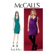 McCalls Ladies Sewing Pattern 7504 Surplice Side Pleat Dresses