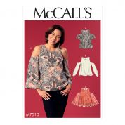McCalls Ladies Easy Sewing Pattern 7510 Cold Shoulder Tops with Flared or Cuffed Sleeves