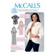 McCalls Ladies Easy Sewing Pattern 7511 Open Front Jackets with Shawl Collar & Hood