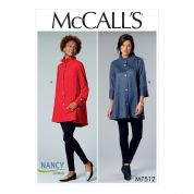 McCalls Ladies Easy Sewing Pattern 7512 Button Front Jackets with Gathered Collar