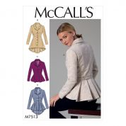 McCalls Ladies Sewing Pattern 7513 Notch Collar Peplum Jackets