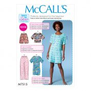 McCalls Ladies Easy Sewing Pattern 7515 Short Sleeve Top & Dress, Pull On Shorts & Pants