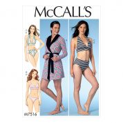 McCalls Ladies Sewing Pattern 7516 Robe with Hood, Belt, T Back & Halter Bras & Panties