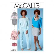 McCalls Ladies Easy Sewing Pattern 7517 Batwing Top, Dress, Romper, Shorts & Pants