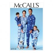 McCalls Family Easy Sewing Pattern 7518 Hooded Onesies & Dog Coat with Kangaroo Pocket
