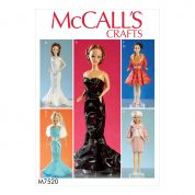 McCalls Crafts Sewing Pattern 7520 Gowns, Stole, Dresses, Coats & Hat for Dolls