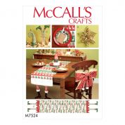McCalls Crafts Easy Sewing Pattern 7524 Christmas Table Runners, Chair Back Cover & Decorations
