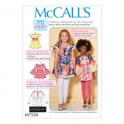 McCalls Girls Easy Learn to Sew Sewing Pattern 7526 Peasant Tops