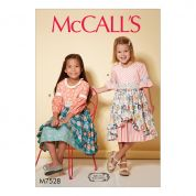 McCalls Girls Easy Sewing Pattern 7528 Back Button Layered Skirt Dresses