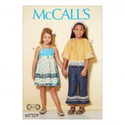 McCalls Girls Easy Sewing Pattern 7529 Peasant Top, Dress with Detachable Apron & Pants
