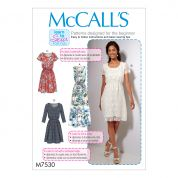 McCalls Ladies Easy Learn to Sew Sewing Pattern 7530 Scoopneck Dresses