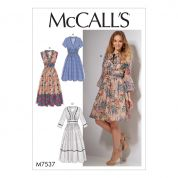 McCalls Ladies Sewing Pattern 7537 Banded Gathered Waist Dresses