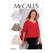 McCalls Ladies Easy Sewing Pattern 7541 V Neck, Cape Style Tops
