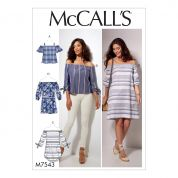 McCalls Ladies Easy Sewing Pattern 7543 Off The Shoulder Tops, Tunic & Dress
