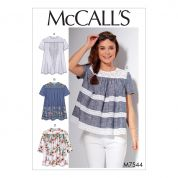 McCalls Ladies Easy Sewing Pattern 7544 Pleated or Gathered Tops with Yokes