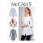McCalls Ladies Sewing Pattern 7546 Shirts with Optional Attached Sash