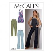 McCalls Ladies Easy Sewing Pattern 7547 Flared Jeans & Overalls, Skinny Jeans & Shortalls