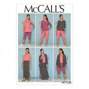 McCalls Ladies Easy Sewing Pattern 7548 Knit Jacket, Tops, Skirt & Pants