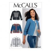 McCalls Ladies Sewing Pattern 7549 Open Front Banded Jackets with Yokes