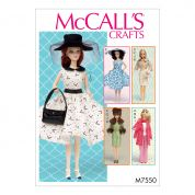 McCalls Craft Sewing Pattern 7550 Retro Style Doll Clothes & Accessories