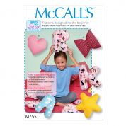 McCalls Home Easy Sewing Pattern 7551 Star, Heart, Bow & Alphabet Cushions