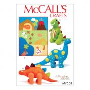 McCalls Childrens Easy Sewing Pattern 7553 Dinosaur Plush Toys & Applique Quilt