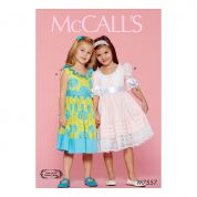 McCalls Girls Sewing Pattern 7557 Ruffle Neck Dresses