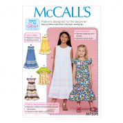 McCalls Girls Easy Learn to Sew Sewing Pattern 7558 Empire Waist Dresses