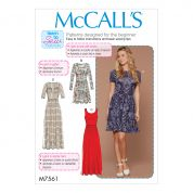 McCalls Ladies Easy Learn to Sew Sewing Pattern 7561 Jersey Knit Dresses