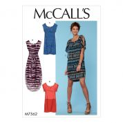 McCalls Ladies Easy Sewing Pattern 7562 Pullover Dresses & Belt