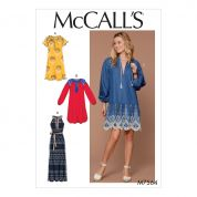 McCalls Ladies Easy Sewing Pattern 7564 V Neck Dresses & Belt