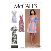 McCalls Ladies Easy Sewing Pattern 7566 V Neck Flutter Sleeve Dresses