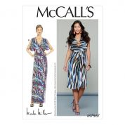 McCalls Ladies Easy Sewing Pattern 7567 Wrap Style Dresses & Belt