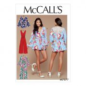 McCalls Ladies Easy Sewing Pattern 7577 Cross Bodice Romper, Jumpsuit & Belt