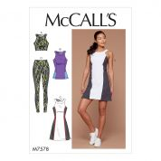 McCalls Ladies Easy Sewing Pattern 7578 Paneled Bra, Top, Dress & Leggings