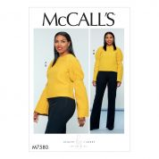 McCalls Ladies Sewing Pattern 7580 Puff Sleeve Top & Straight Leg Pants