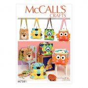 McCalls Accessories Easy Sewing Pattern 7581 Animal Organizer Totes